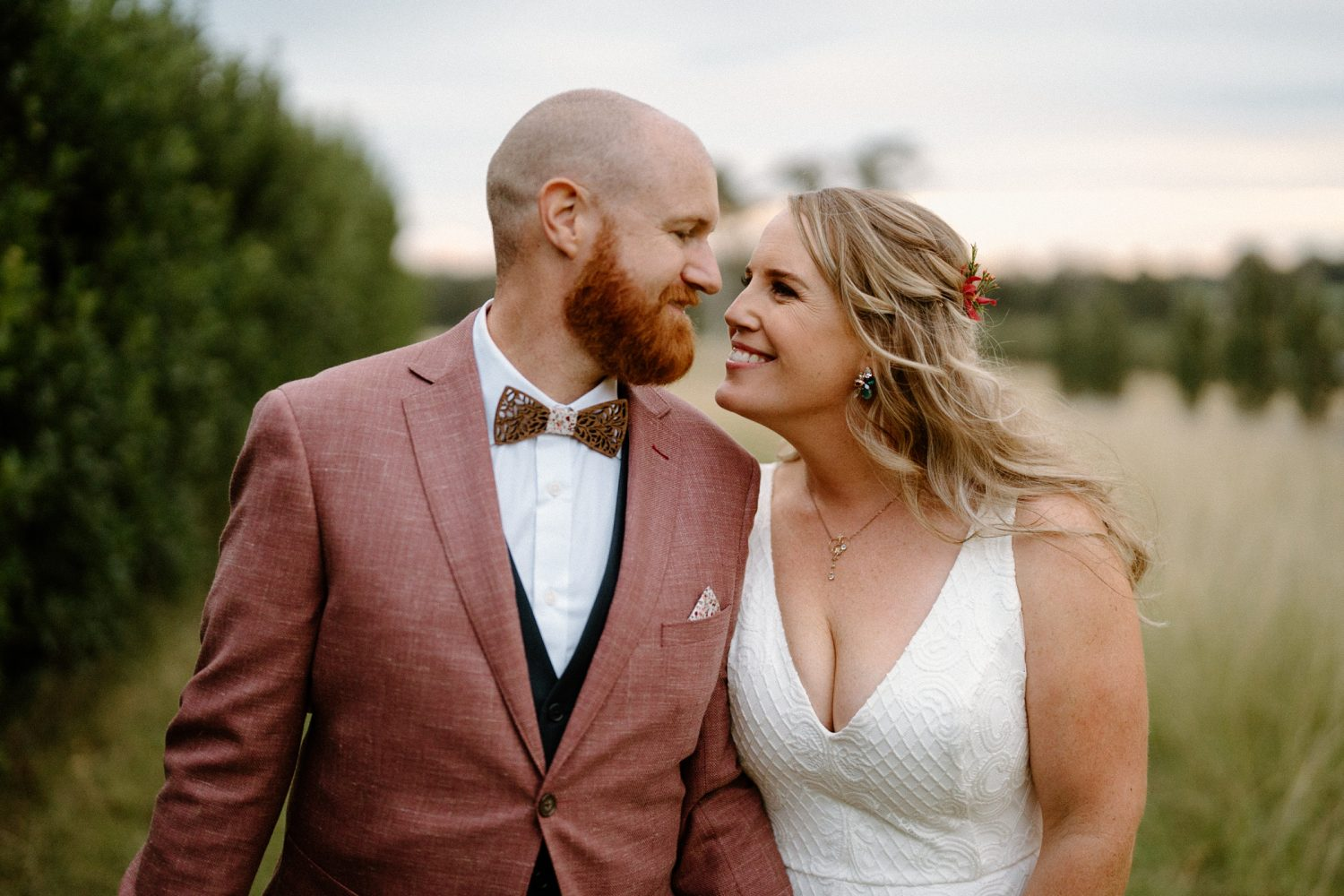 Alyce and Ben enjoying some time alone at their south coast backyard wedding