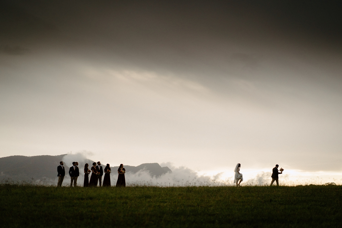 A silhouette image of a bridal party at a Bimbadgen Palmers Lane wedding